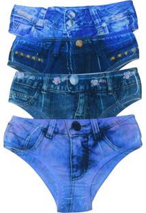 Kit 4 Calcinhas Tangas Vip Lingerie Fake Jeans - Azul - Azul - Feminino - Poliamida - Dafiti