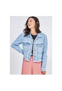 Jaqueta Em Jeans Claro Com Bainha Desfiada
