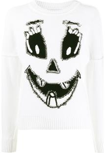 Moschino Suéter Com Estampa De Rosto De Abóbora - Branco