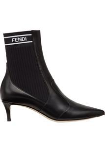 Fendi Ankle Boot 'Rockoko' Com Recortes - Preto