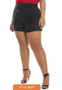 Shorts Molecotton Rovitex Plus Size Preto