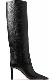 Jimmy Choo Bota Bico Fino Com Textura - Preto