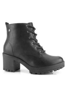 Bota Coturno Ramarim Ankle Boot Couro Preto 2056101
