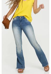 Calça Jeans Flare Feminina Barra Desfiada Disparate