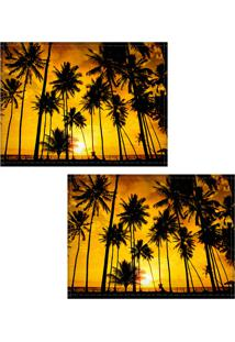 Jogo Americano Colours Creative Photo Decor - Pôr Do Sol E Coqueiros - 2 Peças