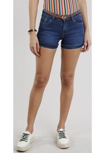 Short Jeans Feminino Reto Com Cinto Trançado Azul Escuro