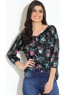 Blusa Floral Preta Com Amarração Quintess