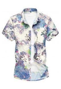 Camisa Masculina Slim Estampa Floral - Azul