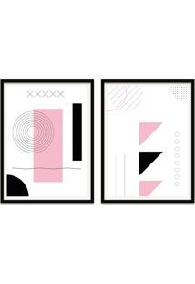 Quadro Oppen House 67X100Cm Formas Geométricas Liberté Rose Moldura Preta Com Vidro