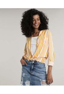 Camisa Feminina Listrada Com Bolso Manga Longa Mostarda