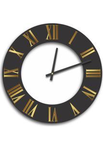 Relógio De Parede Premium Preto Ônix Com Relevo Em Acrílico Espelhado Dourado E Branco 50Cm Grande