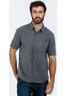 Camisa Masculina Bolso Manga Curta Marisa