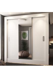 Guarda-Roupa Casal 3 Portas De Correr Com Espelho Luiza Ultra Branco - Pnr Móveis