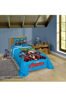 Edredom Avengersâ® Solteiro- Azul Claro & Vermelho- 1Lepper
