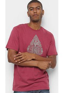 Camiseta Mcd Regular Paisley Masculina - Masculino-Vinho