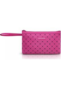 Necessaire Com Alça Tam. P Estampa Coração Jacki Design Pink Lover Pink - Kanui