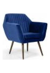Poltrona Decorativa Fixa Pés Palito Dani D02 Veludo Tressê Azul Oxford B-304 - Lyam Decor