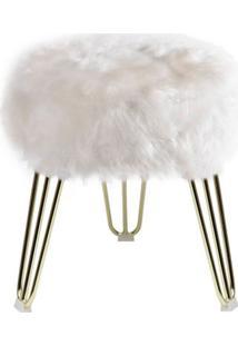Puff Cloud Base Dourada Pele Sintetica Branca 46 Cm - 60092 - Sun House