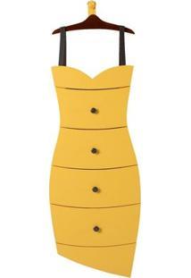 Cômoda 4 Gavetas Dress Maxima Cacau/Amarelo