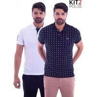 7df9926d57005 Kit 2 Camisas Polo Live - Space Invaders Preta E Seven Branca Kit 2 Camisas  Polo