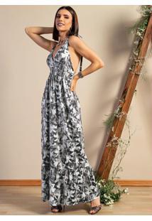 Vestido Longo Floral Cinza Com Alças E Babado