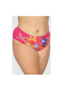 Calcinha Banho De Mar Hot Pant Estampada Rosa