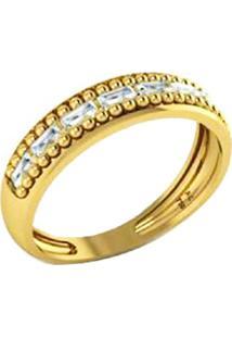 Anel La Madame Co Aparador Ouro 18K Com Baguetes Brilhantes Dourado