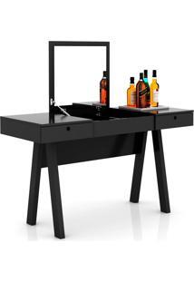 Bar Com Espelho Laca Tecno Mobili - Preto - Multistock