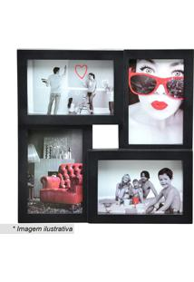 Porta Retrato Para 4 Fotos- Preto- 28,5X28,5X2,5Cm