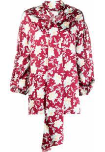 Chloé Blusa Floral Com Laço - Vermelho