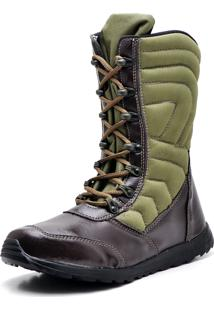 Bota Cano Alto Top Franca Shoes Verde/Café
