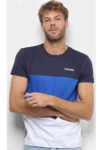 Camiseta Industrie Tricolor Manga Curta Masculina - Masculino-Marinho