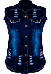 Colete Outlet Dri Jeans Lavagem Destroyed Gola 6 Botões Frontal Bolso Azul Escuro