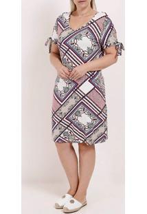 Vestido Plus Size Feminino Rovitex Vermelho/Branco