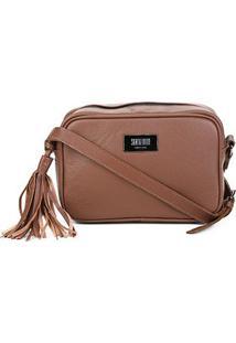 Bolsa Couro Santa Lolla Mini Bag Alça Transversal Floater Feminina - Feminino-Caramelo