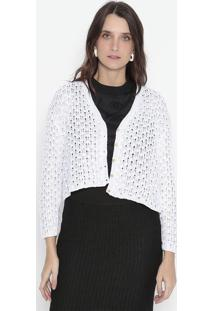 Cardigã Em Tricô Com Micro-Furos - Off White - Wool Wool Line