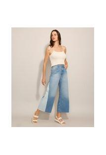 Calça Wide Pantacourt Jeans Com Recorte Patchwork Cintura Super Alta