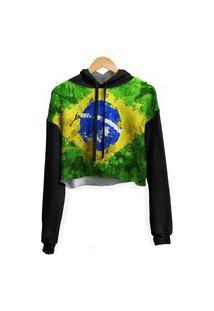 Blusa Cropped Moletom Feminina Over Fame Brasil Md01