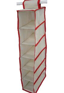 Organizador De Cabideiro Organibox Closet 15X92X28Cm Bege/Vermelho