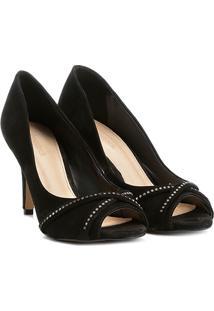 8630702be ... Peep Toe Couro Shoestock Salto Fino Strass - Feminino-Preto