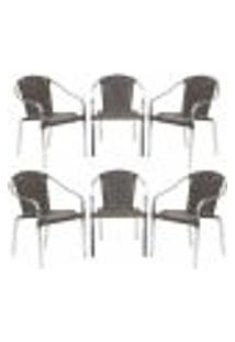 Cadeiras 6Un Para Area Varanda Fibra Sintetica Sala Cozinha Jardim Sacada Pinheiro - Pedra Ferro