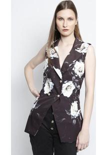 Colete Alongado Floral- Preto & Off Whitecharry