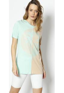 Camiseta Palmeira Bicolor- Bege Claro & Verde Clarolez A Lez
