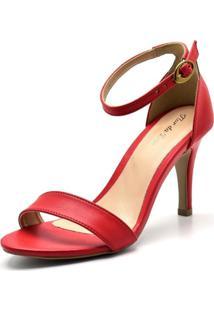 Sandália Salto Alto Flor Da Pele 1725 Vermelha