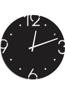 Relógio De Parede Premium Preto Ônix Com Números Vazados 50Cm Grande