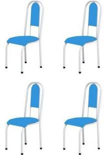 Kit 4 Cadeiras Anatômicas 0.122 Estofada Branco/Azul - Marcheli