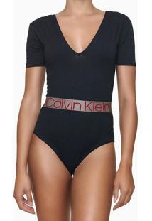 Body Feminino Gola V Faixa Logo Na Cintura Preto Calvin Klein - M