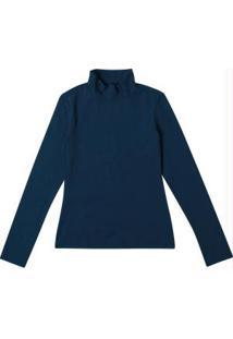 Blusa Azul Lisa Com Gola Alta
