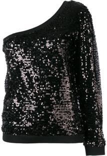 P.A.R.O.S.H. Blusa Assimétrica Com Paetês - Preto