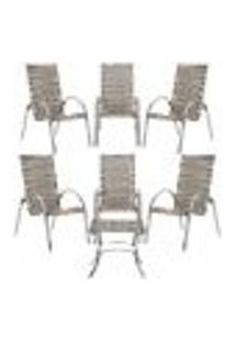 Jogo Cadeiras 6Un E Mesa De Centro Garden Para Edicula Jardim Area Varanda Descanso - Capuccino